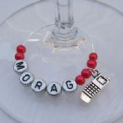 Mobile Phone Personalised Wine Glass Charm